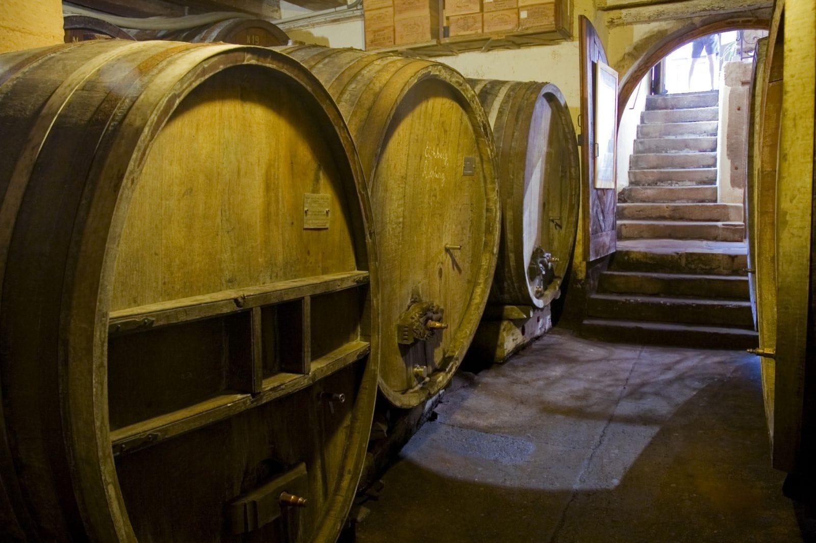 חביות בנות 250 שנה במרתף יין באלזס