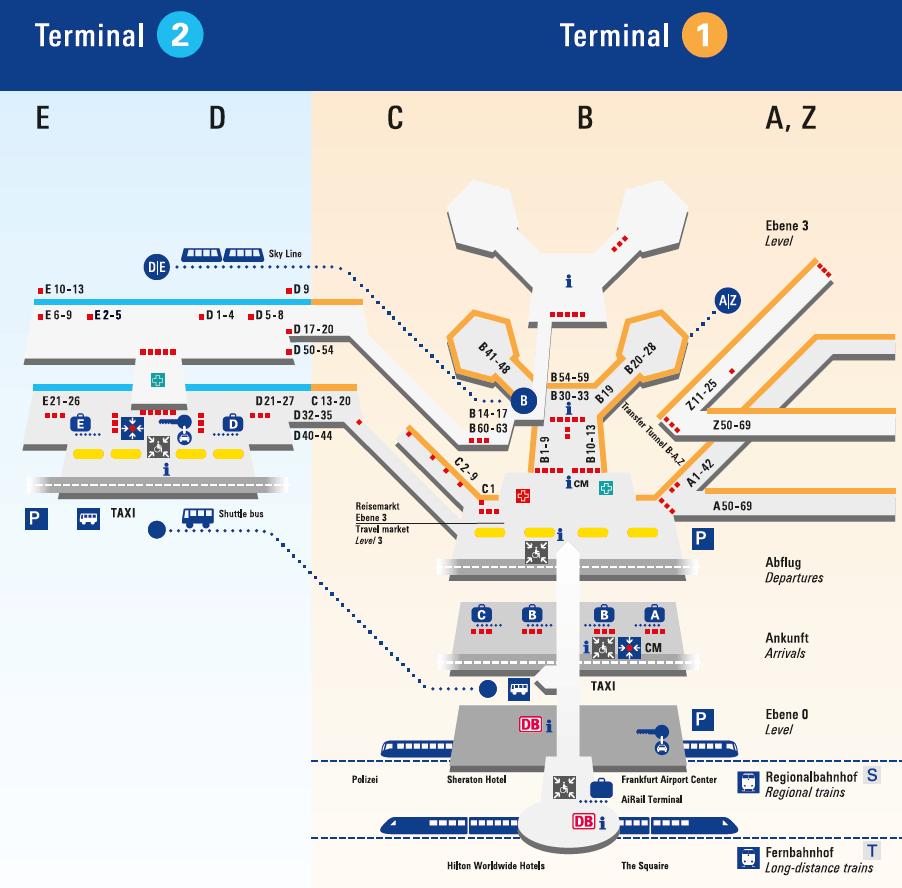 מפת שדה התעופה פרנקפורט