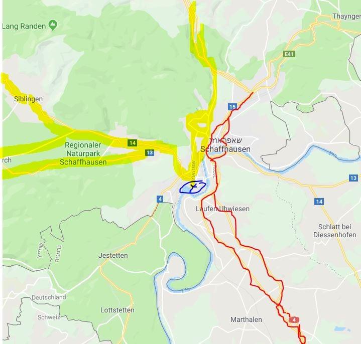 מפת הגעה למפלי הריין